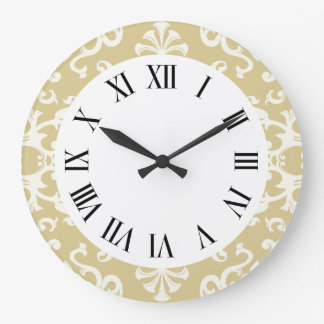 Vintage Flourish Motif Pattern in Cream Wall Clock