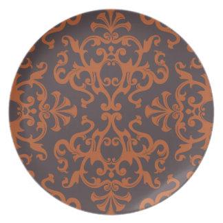 Vintage Flourish Motif Pattern in Rust Plate