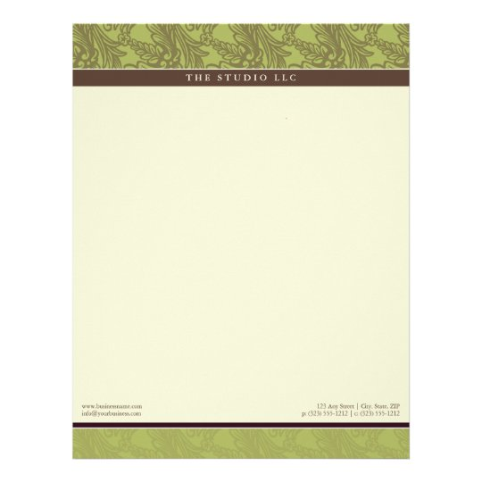 Vintage Flourish Olive Customized Letterhead