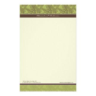 Vintage Flourish Olive Customized Stationery