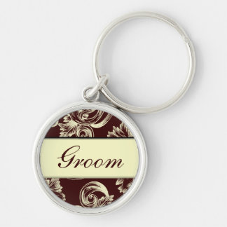 Vintage Flourish (Pale Yellow) Silver-Colored Round Keychain