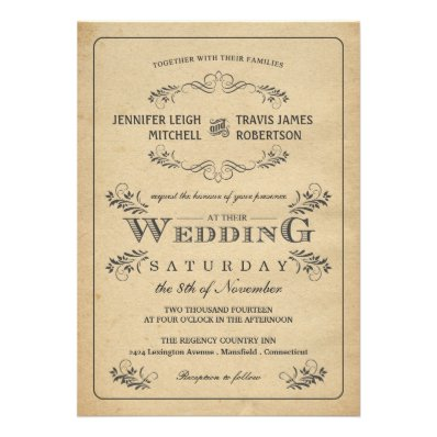 The Most Beautiful Wedding Invitations RSVP Cards And Much More Vintage Flourish Parchment
