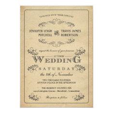 "Vintage Flourish Parchment Wedding Invitations 5"" X 7"" Invitation Card at Zazzle"