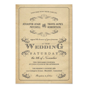 Vintage Flourish Parchment Wedding Invitations 5
