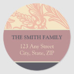 Vintage Flourish Pink/Plum Return Address Sticker