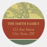 Vintage Flourish Red/Gold Return Address Sticker
