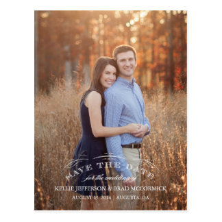 Vintage Flourish Save the Date Post Card