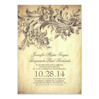 "vintage flourish & swirls chic old wedding invites 5"" x 7"" invitation card"