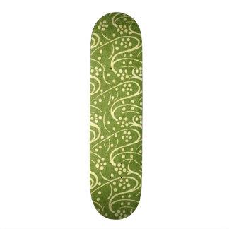Vintage Flourish Swirls Green Floral Custom Skate Board