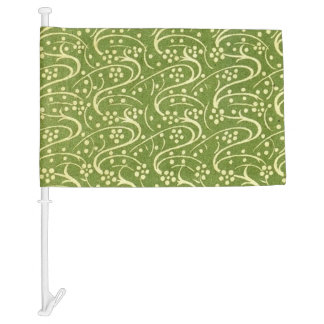 Vintage Flourish Swirls Green Floral Car Flag