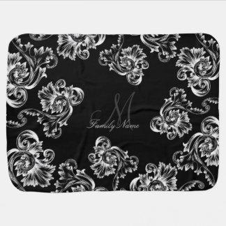 Vintage Flourish (White) (Monogram) Swaddle Blanket