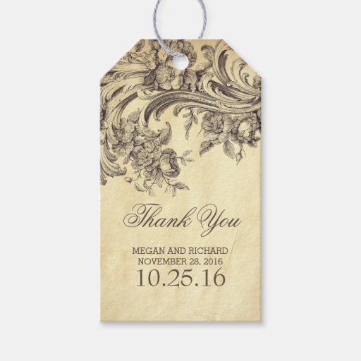 Vintage Wedding Gift Tags : Vintage Flourishes Chic Wedding Thank You Gift Tags Zazzle