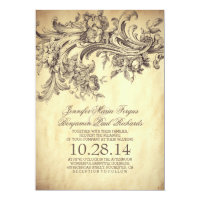 Vintage Flourishes Elegant and Luxury Wedding Card