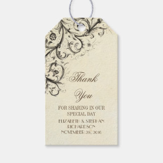 Vintage flourishes elegant wedding Thank You Gift Tags