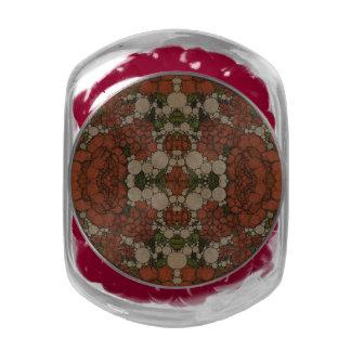 Vintage Flower Abstract Pattern Glass Jar
