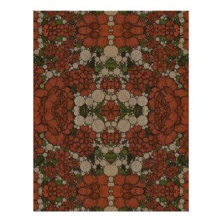 Vintage Flower Abstract Pattern Letterhead