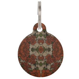 Vintage Flower Abstract Pattern Pet ID Tag