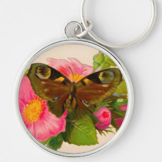 Vintage Flower and Moth Keychain