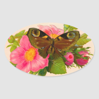 Vintage Flower and Moth Oval Sticker