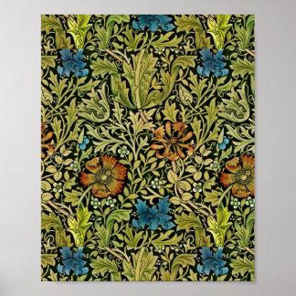 Vintage Flower and Vine Wallpaper Poster