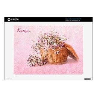 Vintage Flower Basket  Acer Chromebook Decal For Acer Chromebook