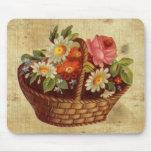 Vintage Flower Basket Mousepad