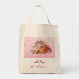 Vintage Flower Basket Organic Grocery Tote