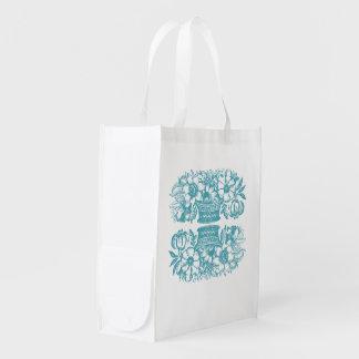 Vintage Flower Basket Reusable Bag