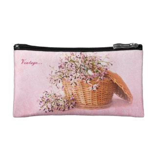 Vintage Flower Basket Small Cosmetic Bag