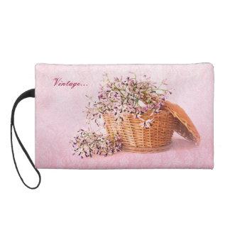 Vintage Flower Basket Wristlet bagettes bag