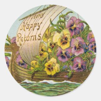 Vintage Flower Boat Classic Round Sticker