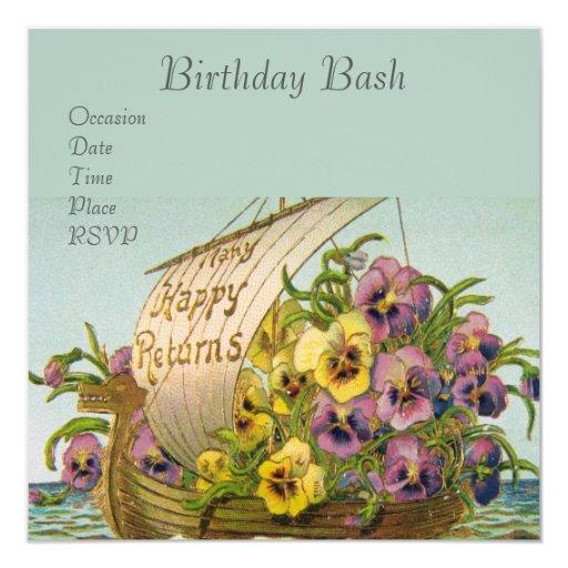 Vintage Flower Boat Invitation