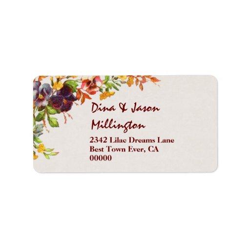 Vintage Flower Bouquet Wedding V23 Pansies Personalized Address Label