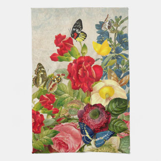 Vintage Flower Bouquet with Butterflies Hand Towel