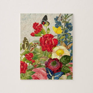 Vintage Flower Bouquet with Butterflies Jigsaw Puzzle