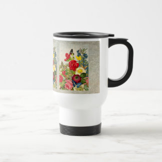 Vintage Flower Bouquet with Butterflies Travel Mug
