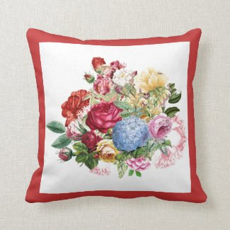 Vintage Flower Bouquet with Red Border Throw Pillow