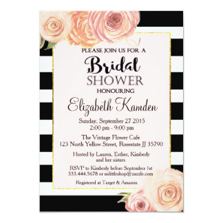 Vintage Flower Bridal Shower invite with honouring