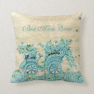 Vintage Flower Carriage - Best Mom Ever Throw Pillow
