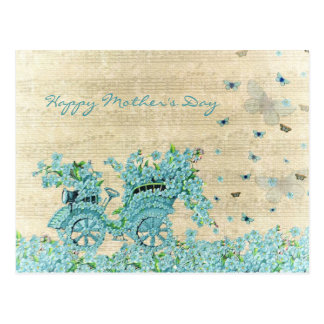 Vintage Flower Carriage - Happy Mother's Day Postcard