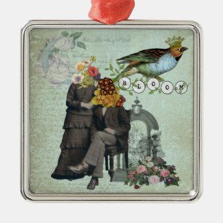 Vintage Flower Collage Altered Art Ornament
