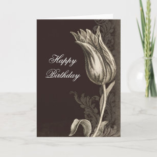 Vintage Flower Drawing Birthday Greeting Card