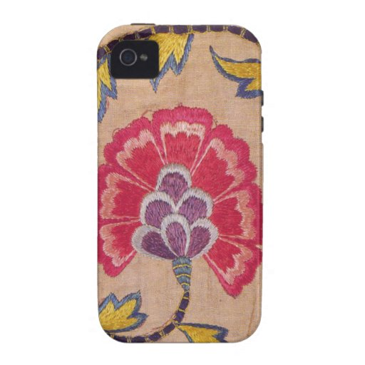 Vintage Flower Embroidery Woven Textile Pink Linen Case-Mate iPhone 4 Cases
