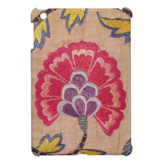 Vintage Flower Embroidery Woven Textile Pink Linen iPad Mini Case