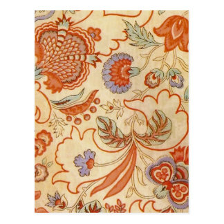 Vintage Flower Fabric Post Card