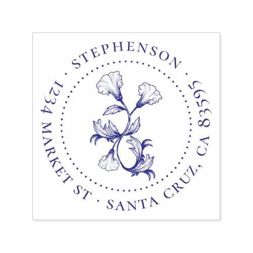 Vintage Flower Family Name Round Return Address Self_inking Stamp