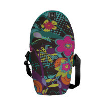 dooni, retro, flowers, abstract, girly, nature, floral, modern, trendy, vactor, Rickshaw messenger bag with custom graphic design