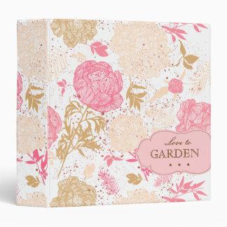 Vintage Flower Garden Binder Pink White