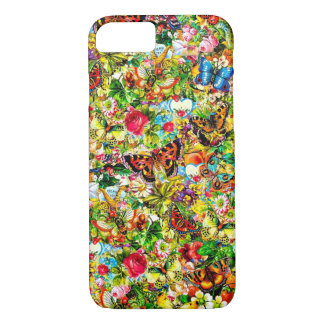 Vintage Flower Garden Colorful Butterfly Floral iPhone 7 Case