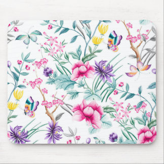 Vintage Flower Garden Rainbow Butterfly white Mouse Pad